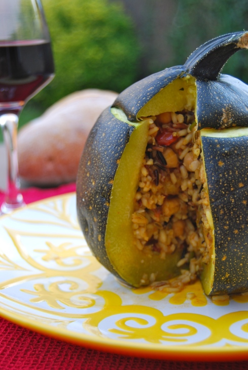 rice and chickpea stuffed zucchini