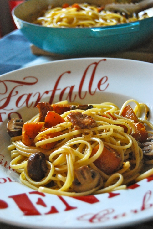 Squash and Mushrooms Pasta