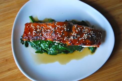 Miso & soy sauce glazed salmon