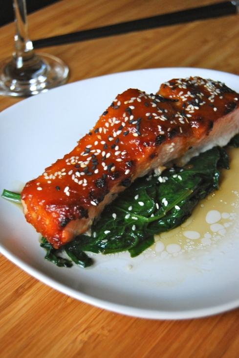 saumon laqué au miso et sauce soja