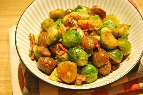 Roasted Brussel Sprouts and Chestnuts - Poêlée de choux de Bruxelles et Marrons