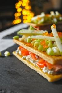 Festive salmon and crispy veggies pastry- feuilleté festif saumon et légumes croquants