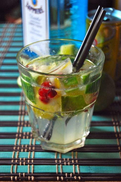 cucumber, lime and pomegranate gin tonic - gin tonic concombre citron vert grenade