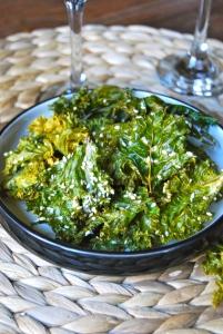 Salt and sesame kale chips - Chps de chou kale aux sel et au sesame