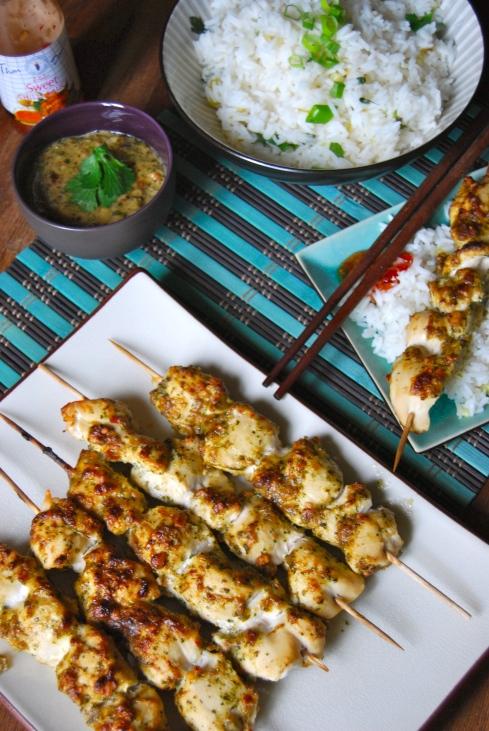 Chicken Satay with a peanut sauce - Brochettes de poulet sauce cacahuète