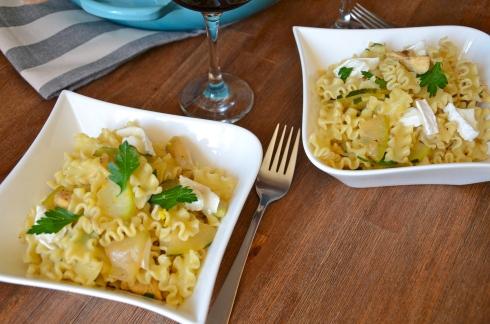 Lemon chicken, zucchini and goat cheese pasta - Pâtes courgettes, chèvre et poulet au citron