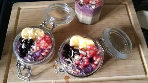 Pudding de chia banane myrtille - Banana blueberry chia pudding